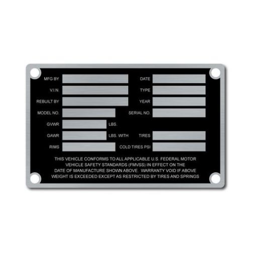 Metal VIN Panel ID Tag made of ultra-durable AlumaTough metal, stronger than stainless steel