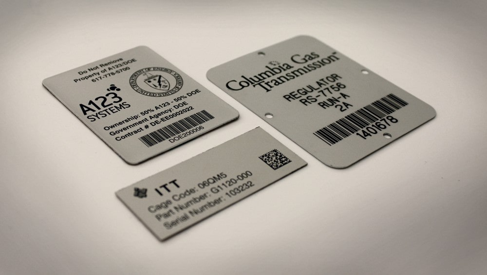Barcode Metal Tags, Control Panels and More with Strong Aluma-Tough metal